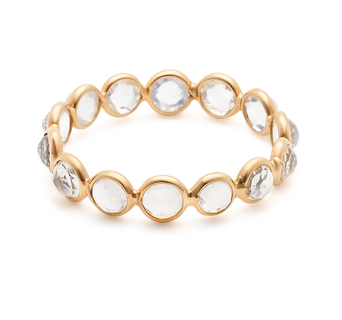Rainbow Moonstone Round Eternity Ring  in 18k Yellow Gold