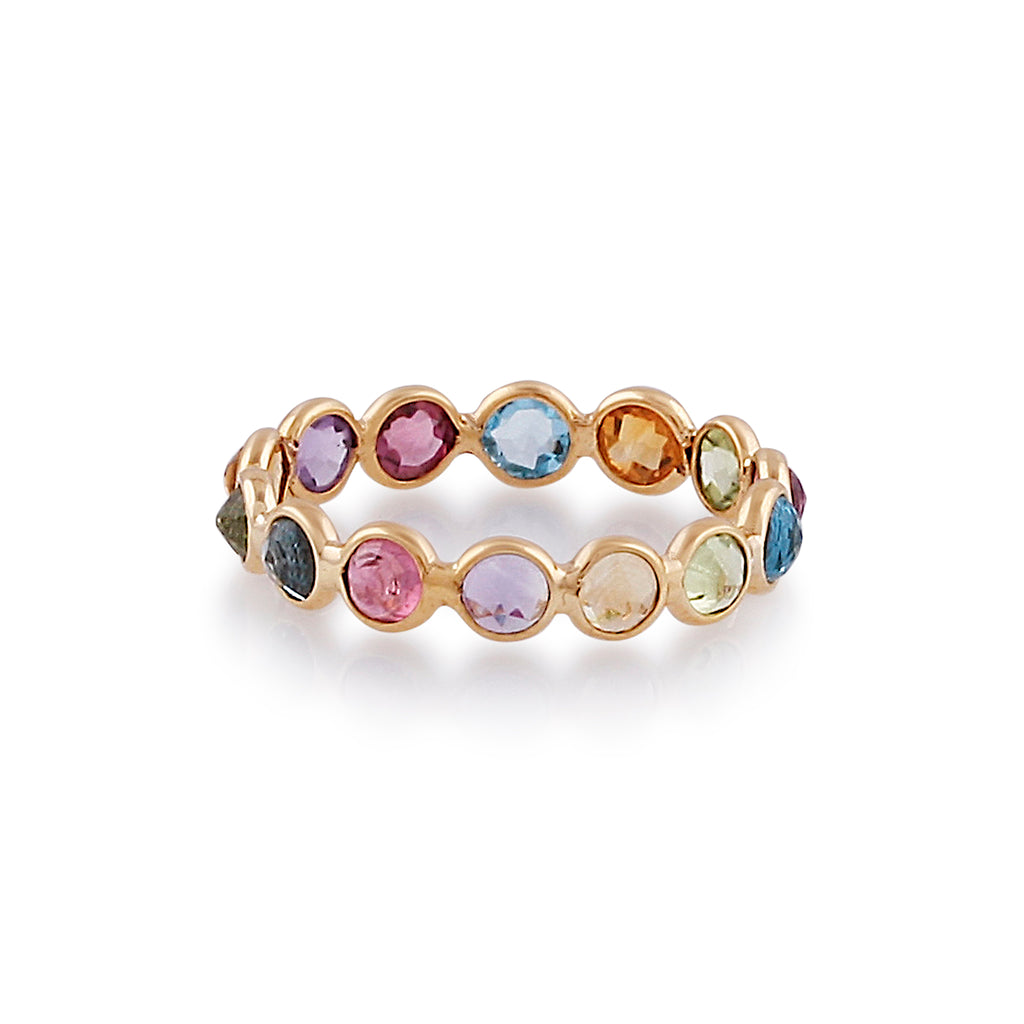 Multicolor Stones Round Ring in 18k Yellow Gold