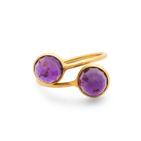 Amethyst Rd Rose cut Top Ring in 18k Yellow Gold