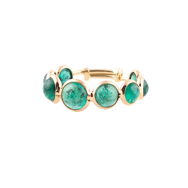 Emerald Round Ring Band in 18k Yellow Gold