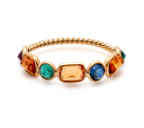 Multicolor Stones Oval Ring  in 18k Yellow Gold