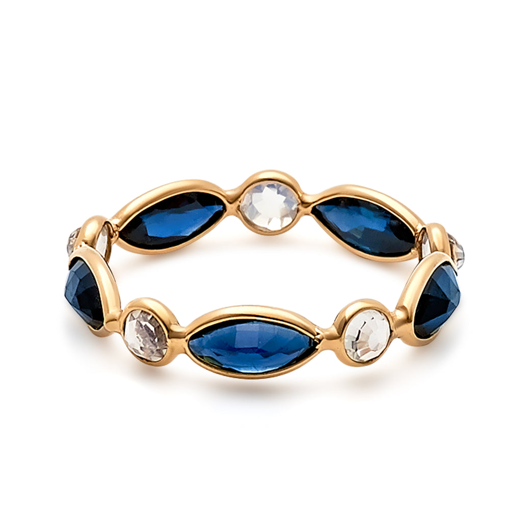 Rainbow Moonstone Round & Blue Sapphire Marquise Ring  in 18k Yellow Gold