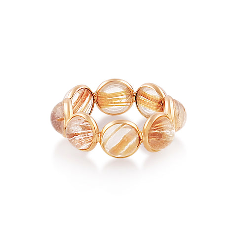 Golden Rutile Round Ring Band in 18k Yellow Gold