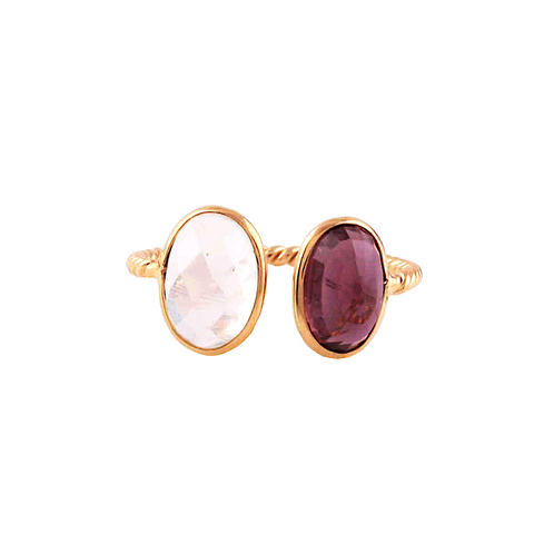 Rhodolite and Rainbow Moonstone Oval Ring  in 18k Yellow Gold
