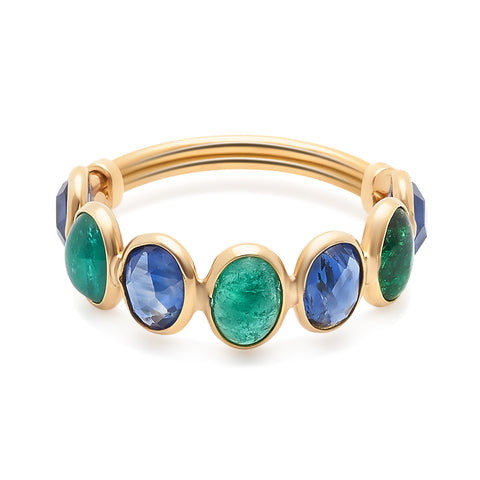 Emerald, Ruby & Sapphire Oval Ring  in 18k Yellow Gold