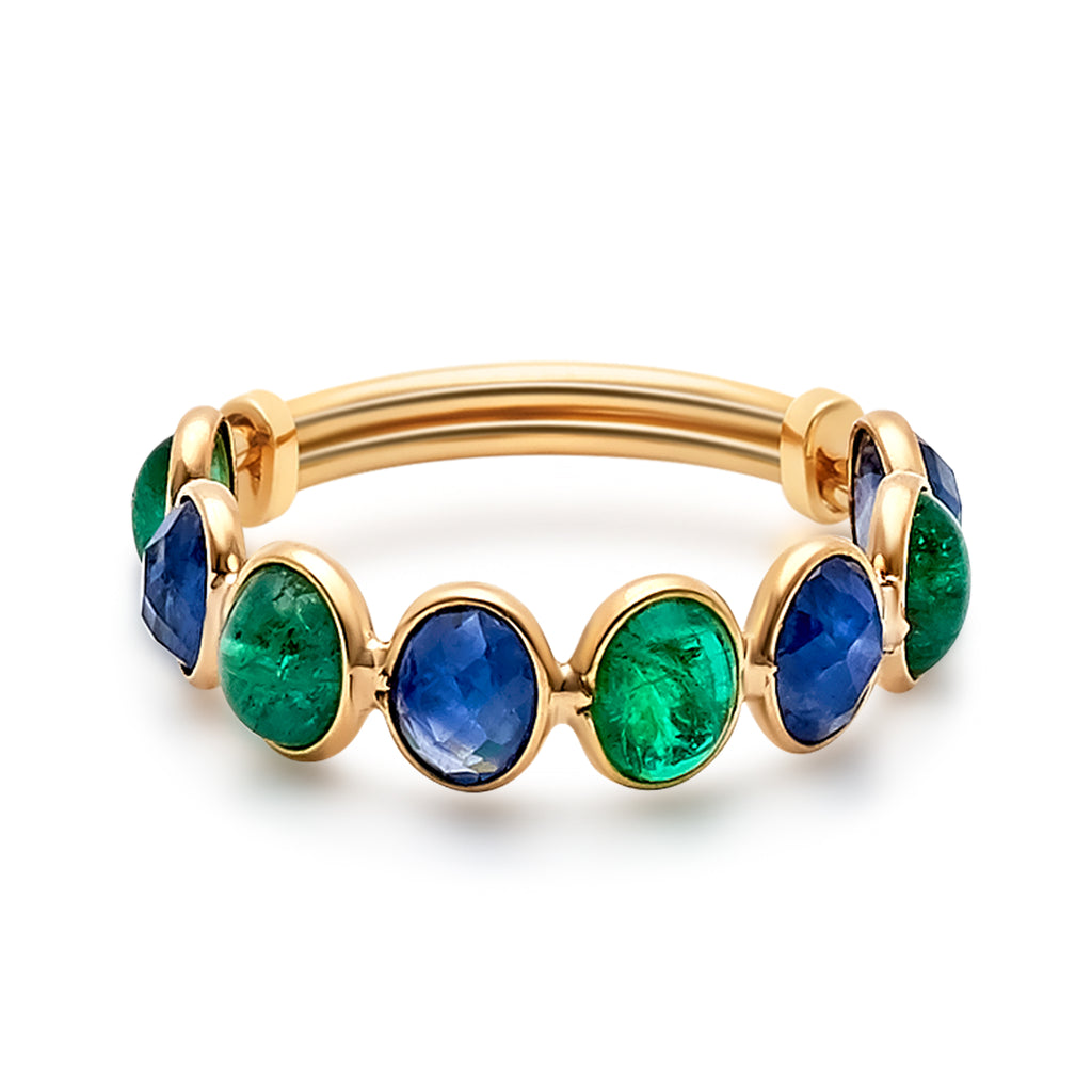 Blue Sapphire & Emerald Oval Faceted Ring Band in 18k Yellow Gold