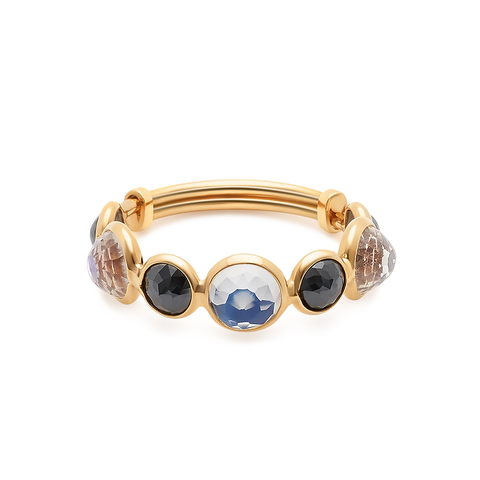 Rainbow Moonstone & Black Diamond Ring Band in 18k Yellow Gold