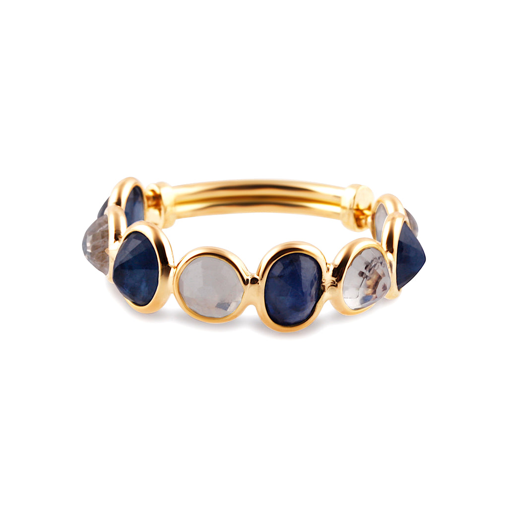 Blue Sapphire Oval & Rainbow Moonstone Round Ring in 18k Yellow Gold