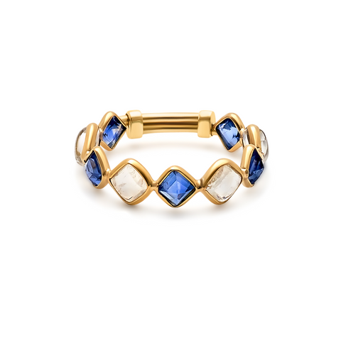 Blue Sapphire & Rainbow Moonstone Square Ring in 18k Yellow Gold