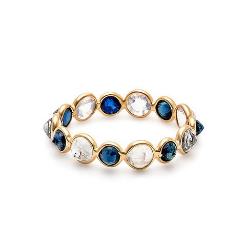 Blue Sapphire & Rainbow Moonstone Round Ring in 18k Yellow Gold