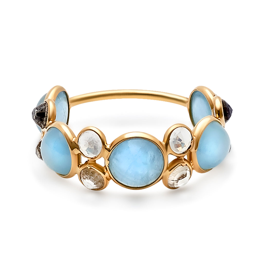 Gemstone & Rainbow Moonstone Round Ring in 18k Yellow Gold