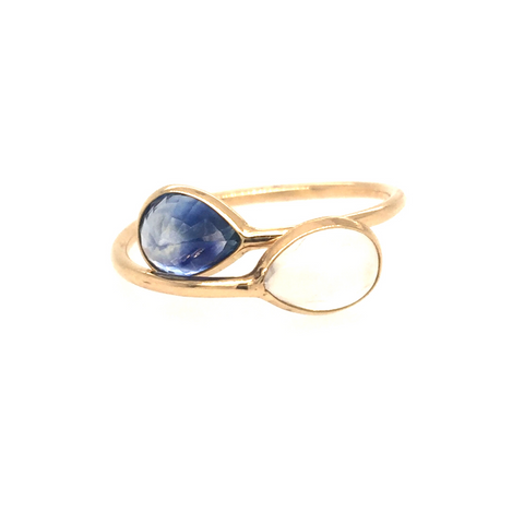 Rainbow Moonstone & Blue Sapphire P/S Ring in 18K Yellow Gold