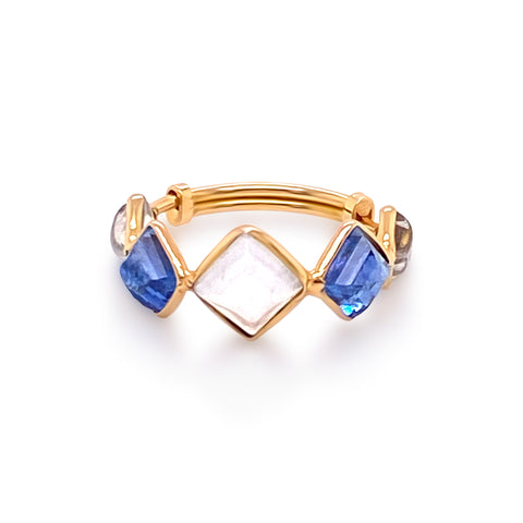 Blue Sapphire & Rainbow Moonstone Sq. Ring in 18K Yellow Gold