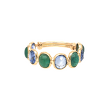 Emerald & Blue Sapphire Oval Ring in 18K Yellow Gold