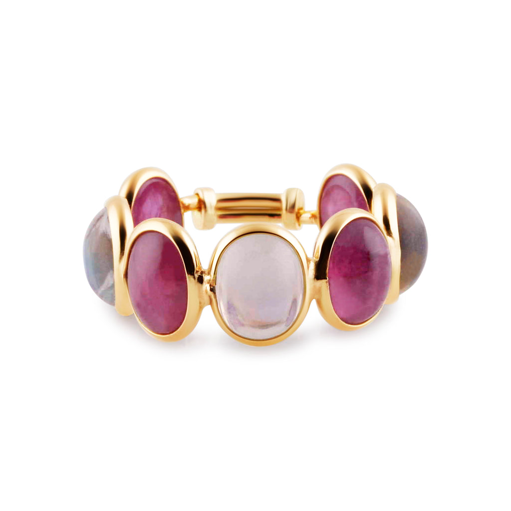 Ruby & Rainbow Moonstone Oval Ring in 18K YG