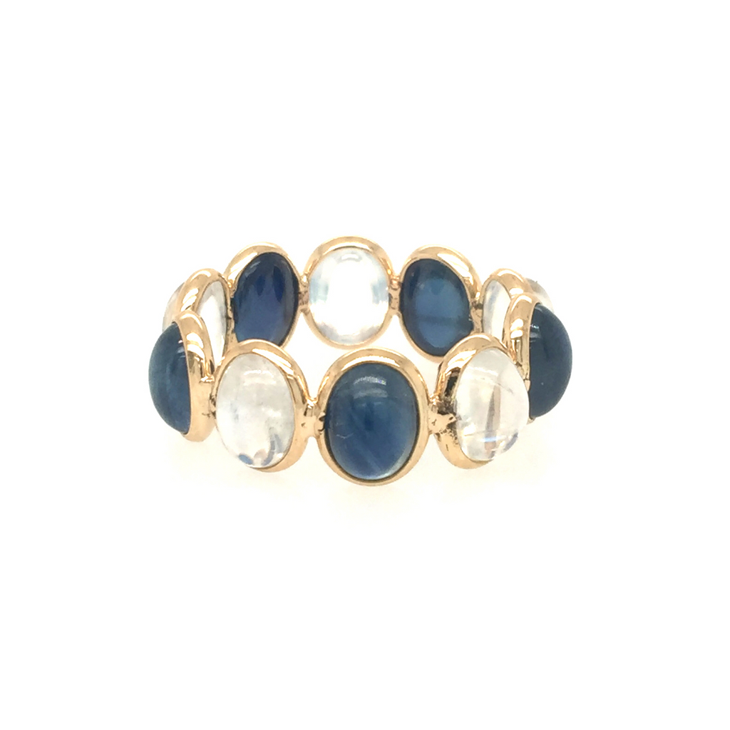 Rainbow Moonstone & Blue Sapphire Oval Ring in 18K Yellow Gold