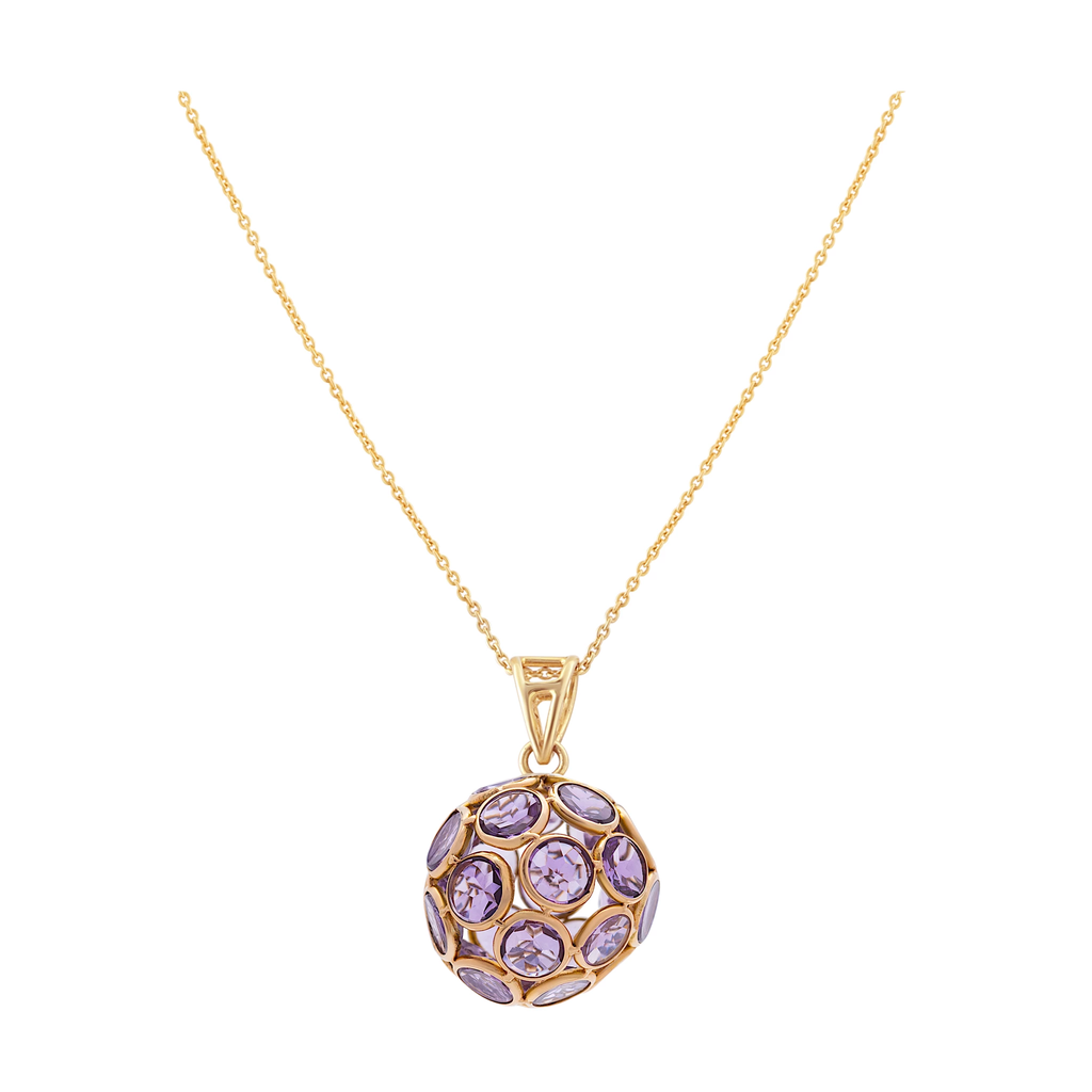 Gemstone Origami Ball Pendant in 18k Yellow Gold