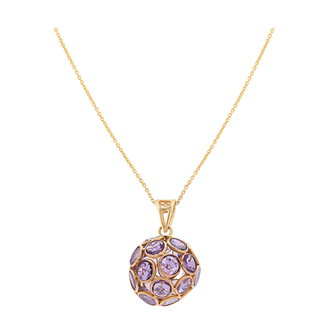 London Blue Topaz Ball Pendant in 18k Yellow Gold