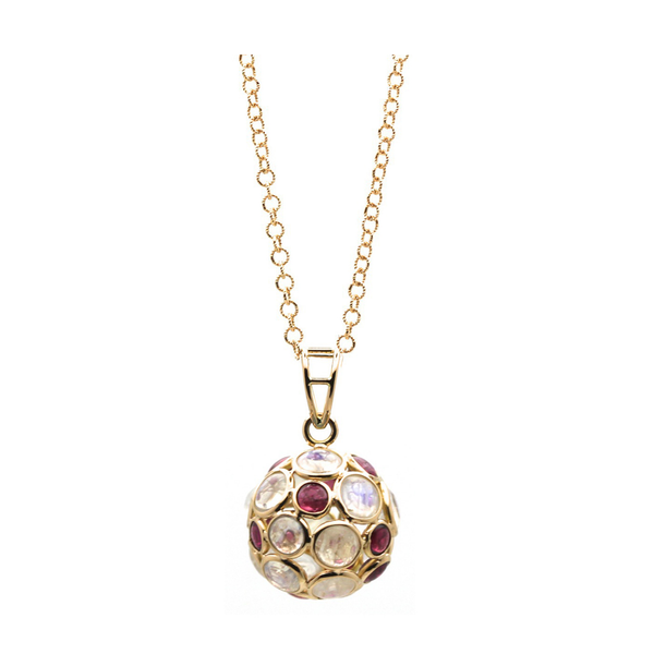 Rainbow Moonstone and Pink Tourmaline Ball Pendant in 18k Yellow Gold