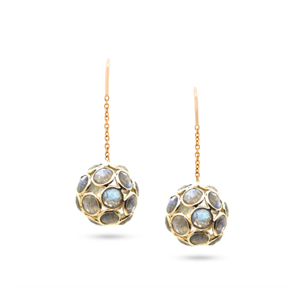 Gemstone Sphere Ball Dangle Earrings in 18k Yellow Gold