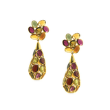 Multicolor Spinal Briolette Earrings with Flower top in 18k Yellow Gold