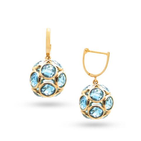 Sky Blue Topaz Ball Earrings with Plain Gold Huggies In 18K Yellow Gold