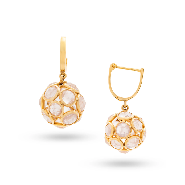 Gemstone Ball Earrings with Plain Gold Huggies In 18K Yellow Gold