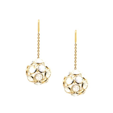 Peridot Ball Earrings In 18K Yellow Gold