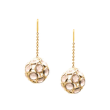 Gemstone Sphere Ball Earrings In 18K Yellow Gold