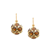 Citrine Sphere Earrings In 18K Yellow Gold