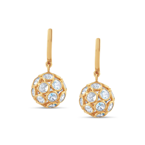 Rainbow Moonstone Sphere Ball Earrings in 18k Yellow Gold