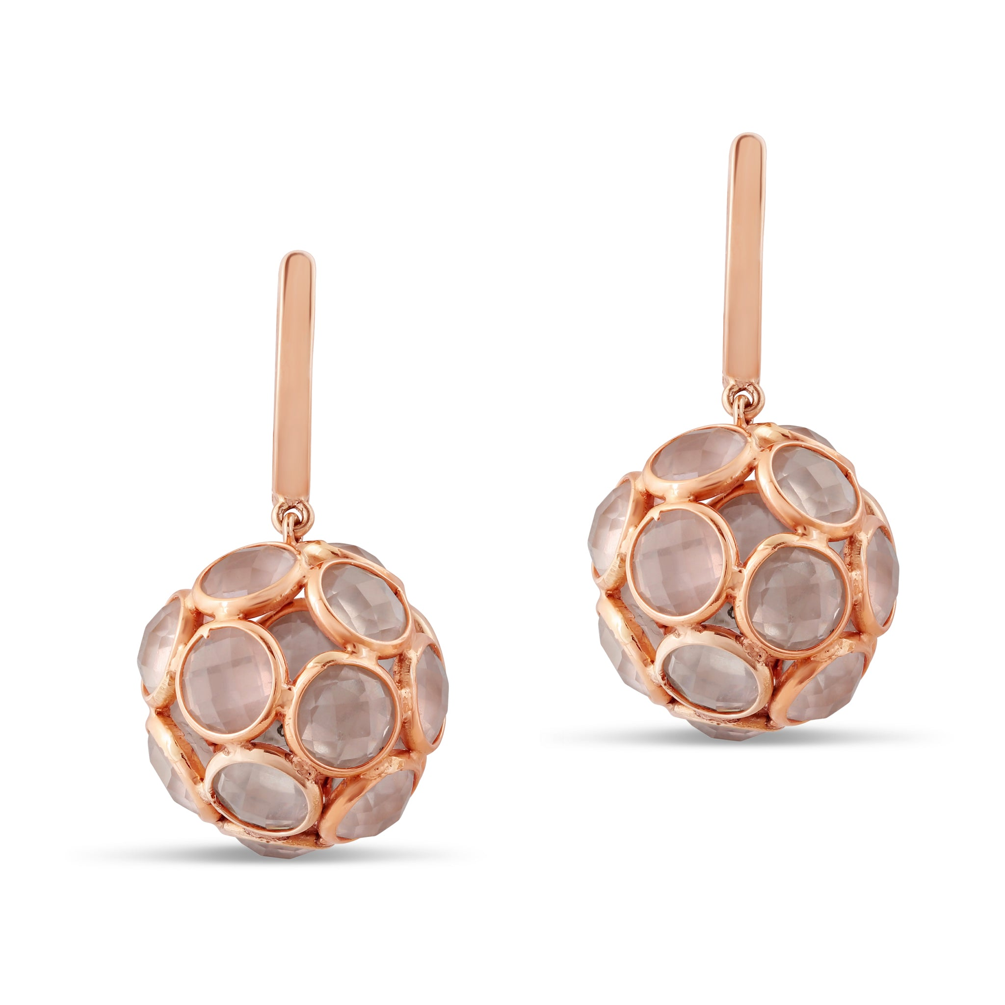Rose Quartz Sphere Ball Earrings in 18k Rose Gold