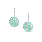 Crysophrase Ball Earrings With Diamond Huggies In 18K White Gold