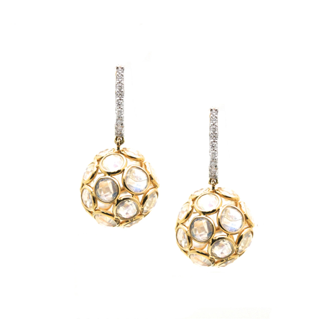 Gemstone Ball Earrings with Diamond Huggies in 18k Yellow Gold