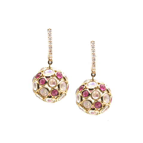 Rainbow Moonstone & Pink Tourmaline Ball With Diamond Huggies Earrings In 18K Yellow Gold