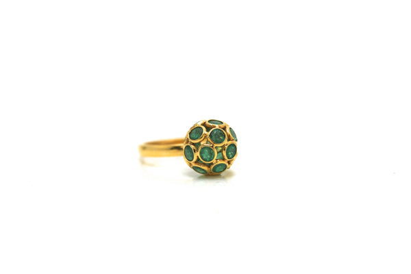 Emerald Sphere Ball Ring in 18k Yellow Gold