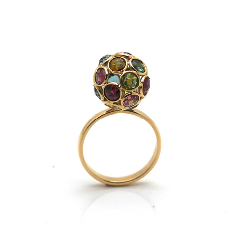 Multicolor Tourmaline Sphere Ball Ring in 18k Yellow Gold