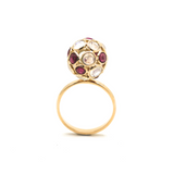 Gemstone Sphere Ball Ring in 18k Yellow Gold