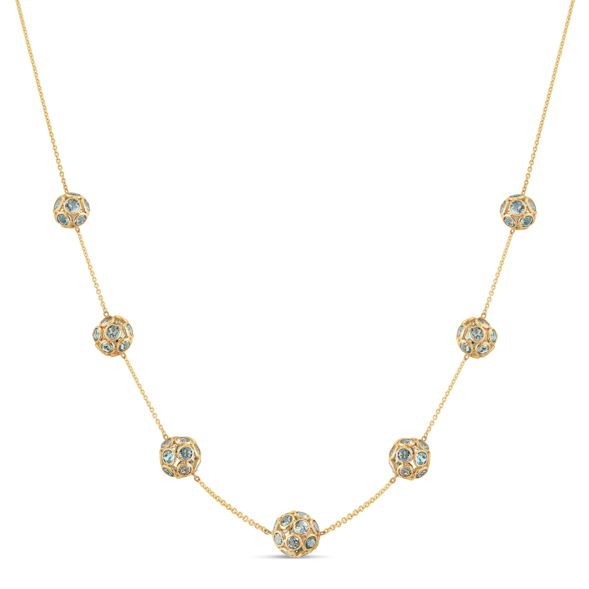 Sky Blue Topaz Origami Sphere Balls Necklace  in 18k Yellow Gold