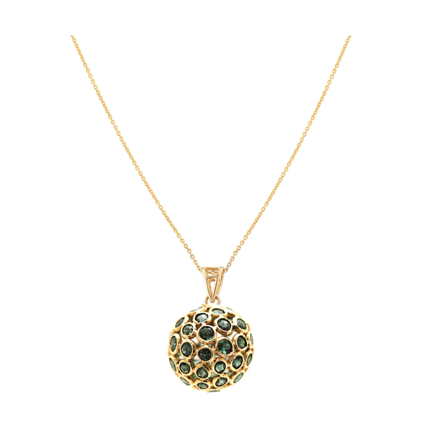 Chrome Diopside Sphere On Diamond Loop Pendant in 18k Yellow Gold