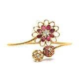 Rainbow Moonstone & Pink Tourmaline Bangle in 18k  Yellow Gold