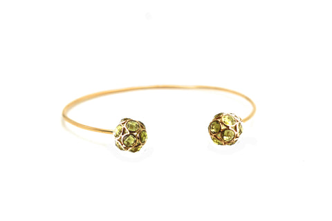 Peridot Oregami  Ball Bangle in 18k Yellow Gold