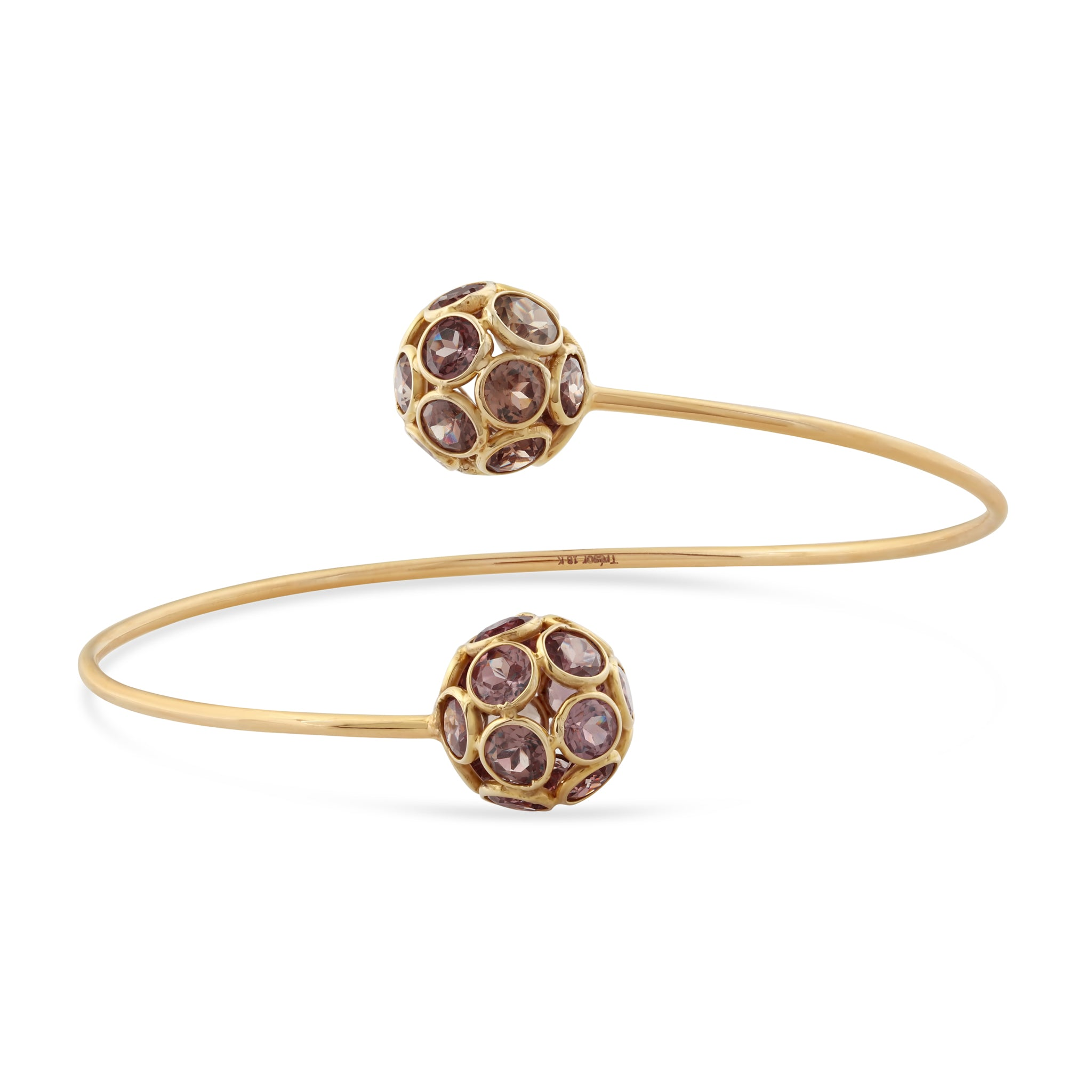 Color Change Garnet Oregami Ball Bangle In 18k Yellow Gold
