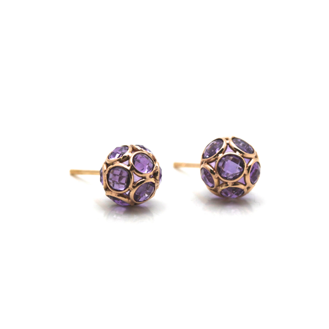 Amethyst Origami Sphere Ball Stud Earrings in 18K Rose Gold