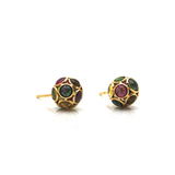 Gemstone Origami Sphere Ball Stud Earrings in 18K Rose Gold
