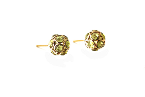 Peridot Origami Sphere Ball Stud Earrings  in 18k Yellow Gold