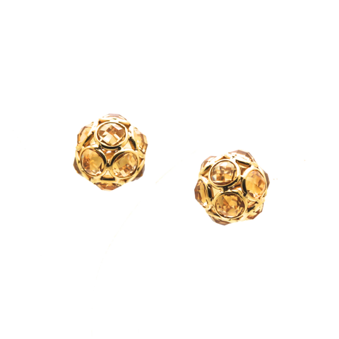 Gemstone Origami Sphere Ball Stud Earrings 18k Yellow Gold