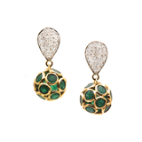 Gemstone Origami Sphere Ball Earrings on a Pear Shaped Diamond Pave Top in 18k Yellow Gold