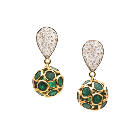 Emerald Origami Sphere Ball Earrings on a Pear Shaped Diamond Pave Top in 18k Yellow Gold