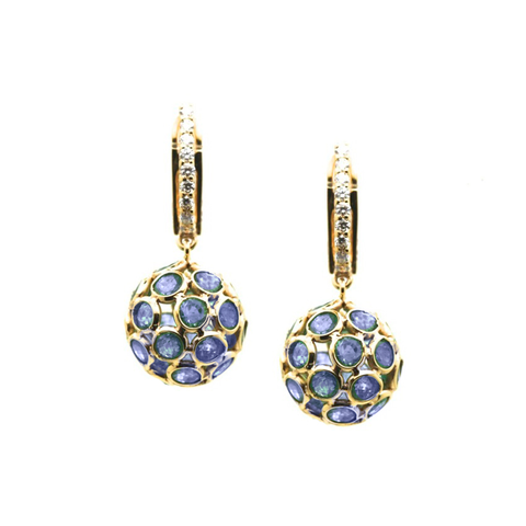 Blue Sapphire Origami Sphere Ball Earring with Diamond Huggies in 18k Yellow Gold